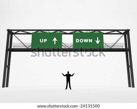 Freeway sign with up/down directions - stock photo