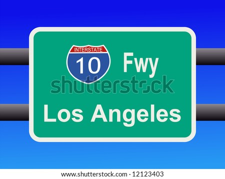 freeway to downtown Los Angeles sign illustration JPG - stock photo