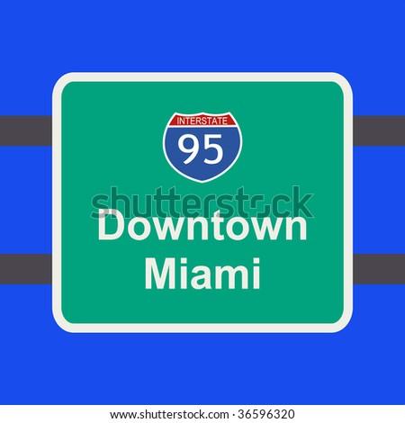 freeway to downtown Miami sign illustration JPEG - stock photo