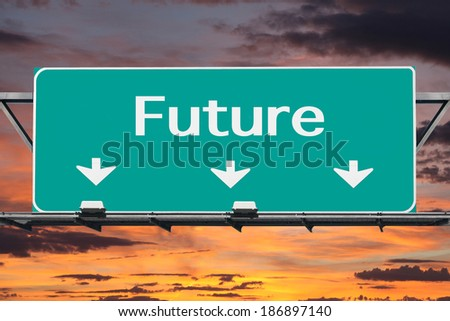 Freeway to the future road sign with sunset sky. - stock photo