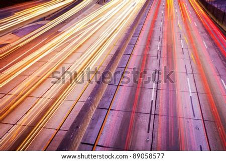 Freeway Traffic at Night - stock photo