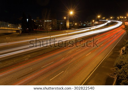 Freeway Traffic Light Trails in Portland Oregon at Night - stock photo