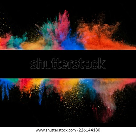 Freeze motion of colored dust explosion in stripe shape, isolated on black background - stock photo