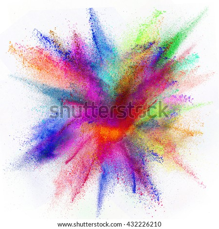 Freeze motion of colored dust explosion isolated on white background.