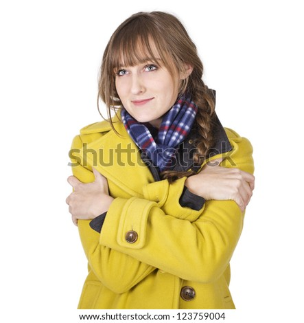 Freezing Cold Young Woman - stock photo