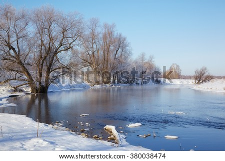 Freezing river Talitsa in winter, Altai, Siberia, Russia - stock photo