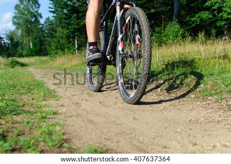 FREIBURG, GERMANY - AUGUST 09, 2013: A mountain biker passing on a trail