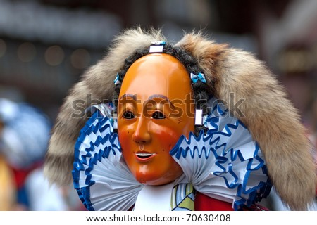 FREIBURG, GERMANY - FEB15 : Mask parade at the historical annual carnival on February 15, 2010 in Freiburg, Germany