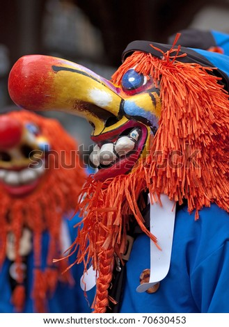 FREIBURG, GERMANY - FEB 15 : Mask parade at the historical annual carnival on February 15, 2010 in Freiburg, Germany