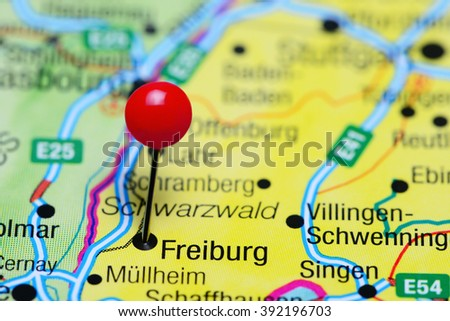 Freiburg Pinned On Map Germany Stock Photo Royalty Free 392196703