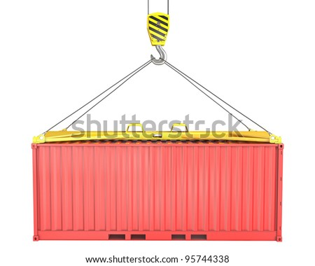 Freight container hoisted on container spreader, isolated on white background - stock photo