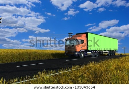 Freight machine on a highway