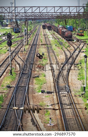 Freight Station with trains and wagons - stock photo
