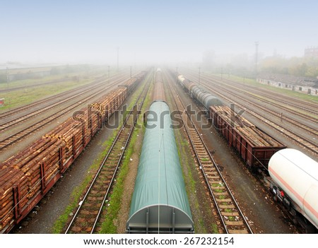 Freight Station with trains - Cargo transportation - stock photo