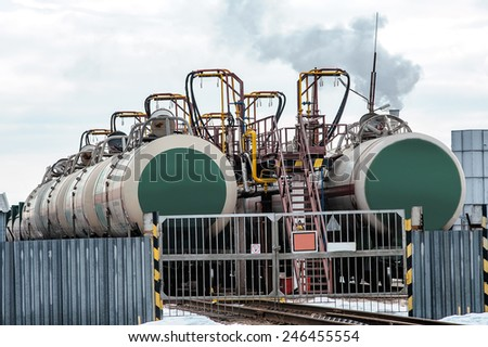 Freight train for oil and fuel transport - stock photo