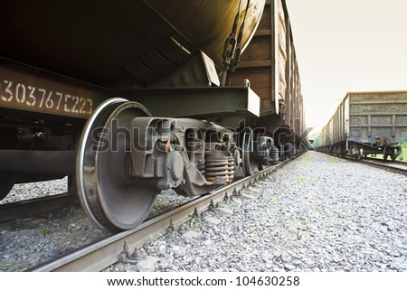 Freight train in depot - stock photo