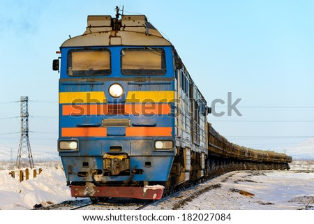 Freight train in the far north. Norilsk. - stock photo