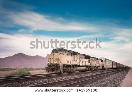 Freight train locomotive in Arizona, USA - stock photo