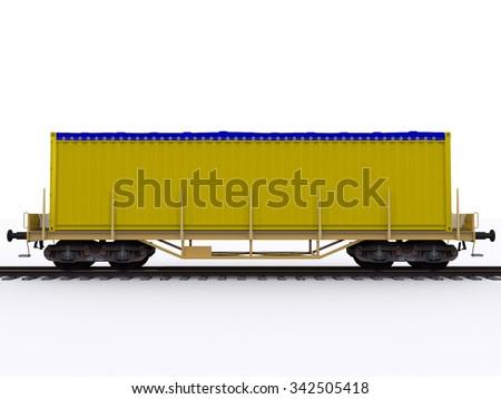 freight train wagon - stock photo