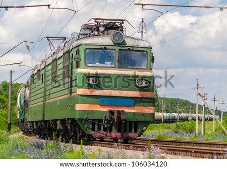 Freight train with gas and petroleum in Ukraine - stock photo