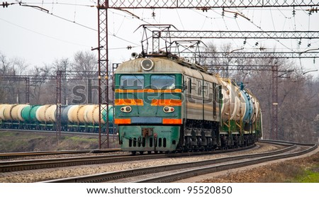 Freight train with petroleum - stock photo