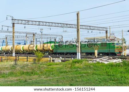 Freight train with petroleum.Russia railways - stock photo