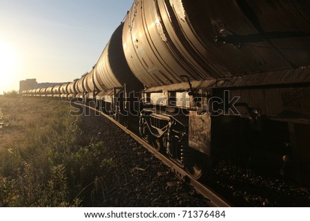 freight train, with selective focus - stock photo