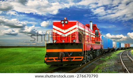 freight train with space for text - stock photo