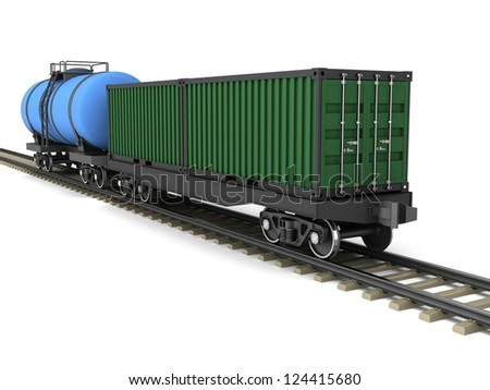 Freight train with wagons for the transport of containers and oil. - stock photo