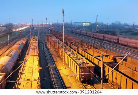 Freight trains - Cargo transportation, Railway - stock photo