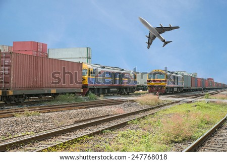 Freight trains in dock with airplane for logistics background - stock photo