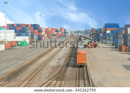 Freight trains on cargo terminal - stock photo