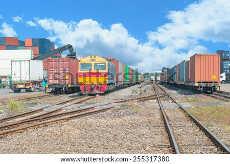 Freight trains on cargo terminal at dock - stock photo