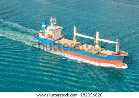 Freight transport ship - stock photo