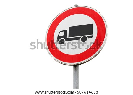 Freight transport traffic is prohibited, road sign isolated on white background, close up photo