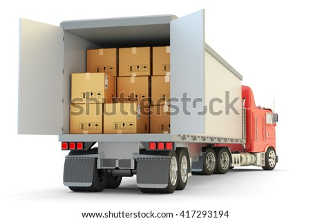 Freight transportation, packages shipment and shipping goods concept, cargo loading and unloading operations, delivery truck full of cardboard boxes isolated on white, 3d illustration
