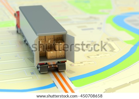 Freight transportation, packages shipment, shipping, logistics and business concept, delivery truck full of cardboard boxes and parcels on paper city map, 3d illustration