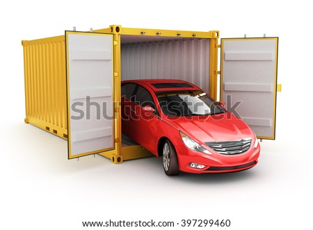 Freight transportation, shipment and delivery concept, red car inside yellow cargo container isolated - stock photo