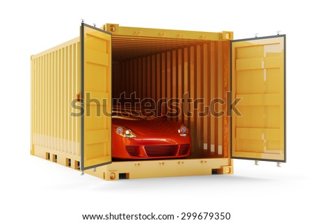 Freight transportation, shipment and delivery concept, red sports car inside yellow cargo container isolated on white background. (My own design, 3d model and render) - stock photo