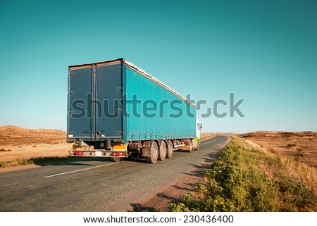 freight truck on the road - stock photo