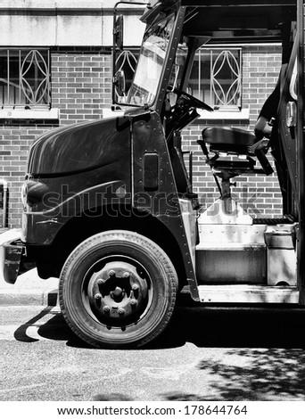 Freight Truck outside Soho Building, black and white shot - stock photo