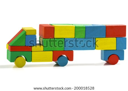 freight truck toy blocks, multicolor car wooden transportation, cargo delivery, isolated white background - stock photo