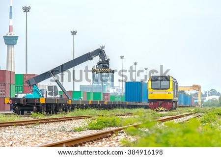 Freightliner operated intermodal mixed box train - stock photo