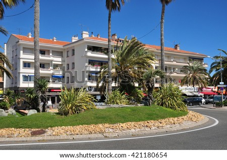 Frejus; France - april 14 2016 : shops in the seaside street