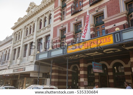 Fremantle, Australia - November 21, 2016: Old city center and the architecture in the small town Fremantle.