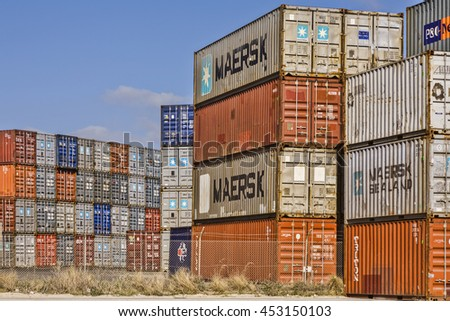 "Fremantle, Western Australia: 26 September 2006 - Stack of shipping containers including ""Maersk"", in Fremantle Port, Western Australia."