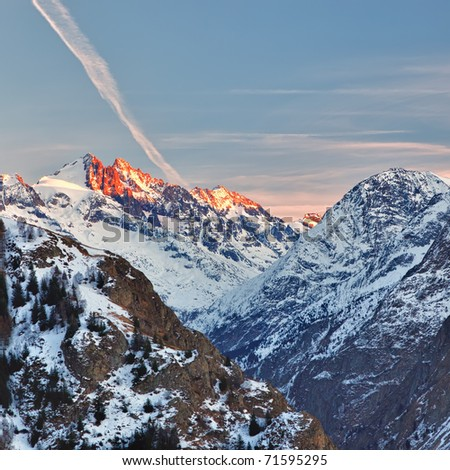 French Alps at sunset - stock photo