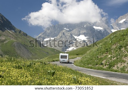 French alps, camping holidays in the - stock photo