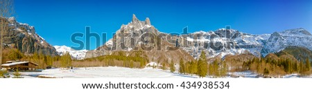 french alps mountain circus named sixt fer a cheval panormaic view - stock photo