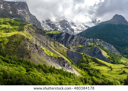 French alps near La Grave in summer